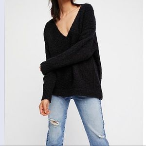Free People Oversized Sweater Black Slouchy